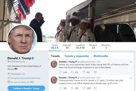 Twitter, la vía de expresión del presidente de EEUU. Foto: Captura Twitter