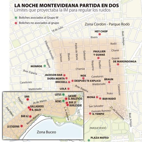 Mapa de boliches de Montevideo.