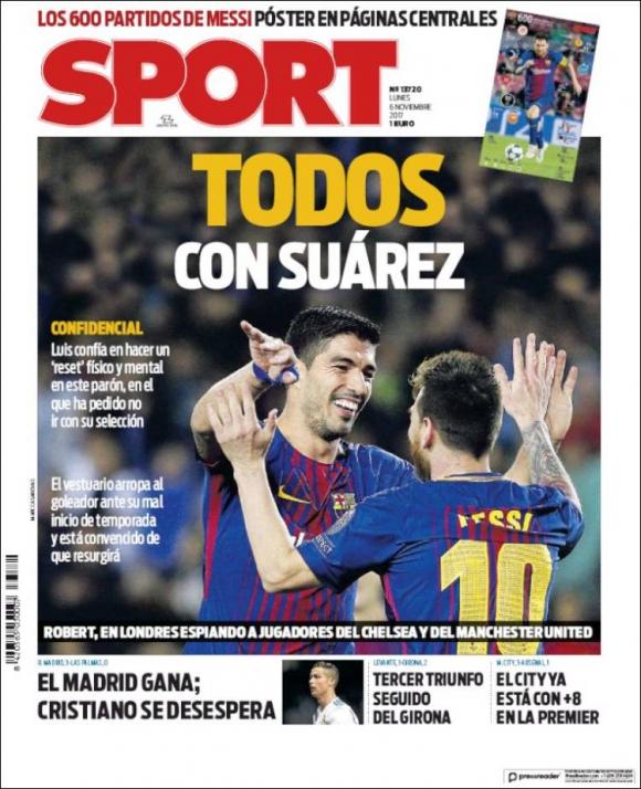La tapa de Sport del lunes 6 de noviembre con Luis Suárez.