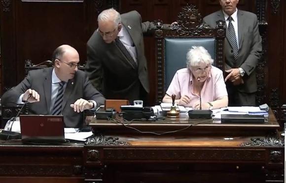 Lucía Topolansky en el Parlamento. Foto: Captura Video