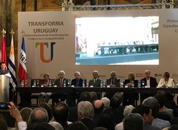 """Tabaré Vázquez en el lanzamiento del plan """"Transforma Uruguay"""". Foto: Presidencia"""