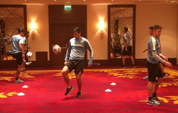 Activación física de Uruguay en el Hotel Marriot de Varsovia