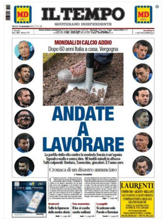 Il Tempo fue el diario que rotuló la eliminación de la manera más fuerte