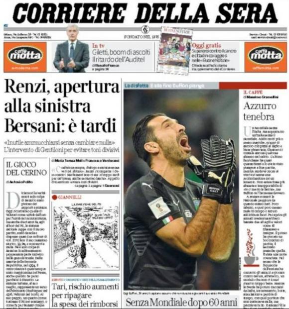La portada de Corriere della Sera