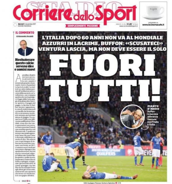 La portada de Corriere dello Sport