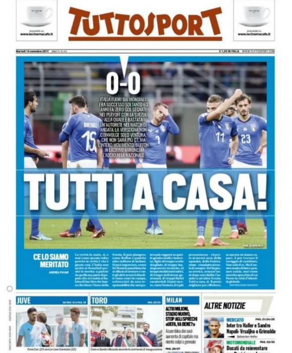 La portada de Tutto Sport