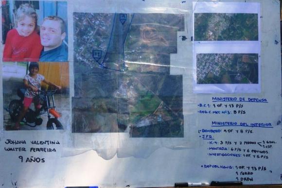 Intensa búsqueda para encontrar a la menor Johana Walter. Foto: Jefatura de Policía de Rivera.