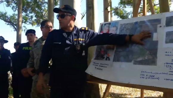 Efectivos policiales y el Ejército Nacional buscan a la niña. Foto: Captura de video