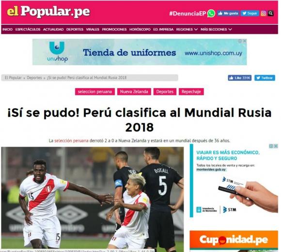 El diario El Popular utilizó una frase bien de la tribuna