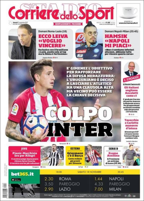 Tapa de Corriere dello Sport del 17/11/2017.
