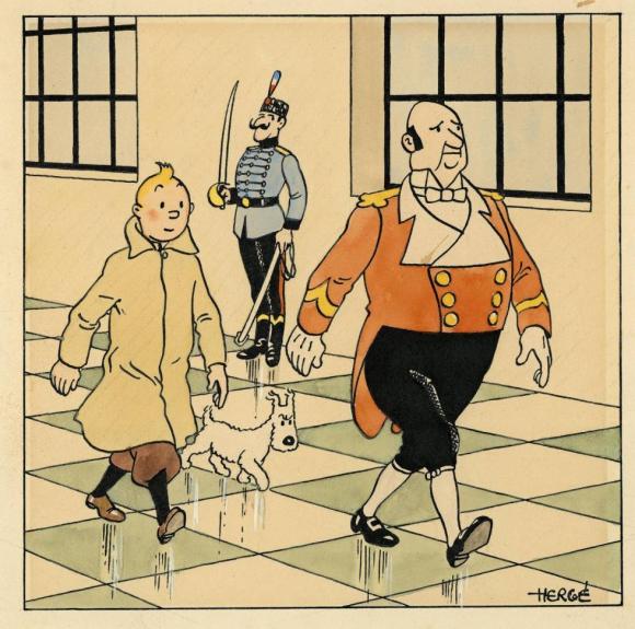El dibujo de Tintin subastado en París. Foto: EFE
