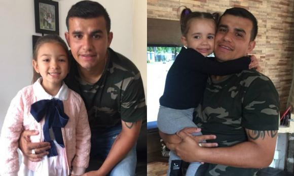 Líber Quiñones junto a sus dos hijas, Lucila y Zoe.