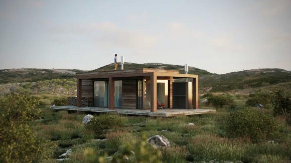 Modelo. La diseño busca armonizar las cabañas con el entorno de la sierra.