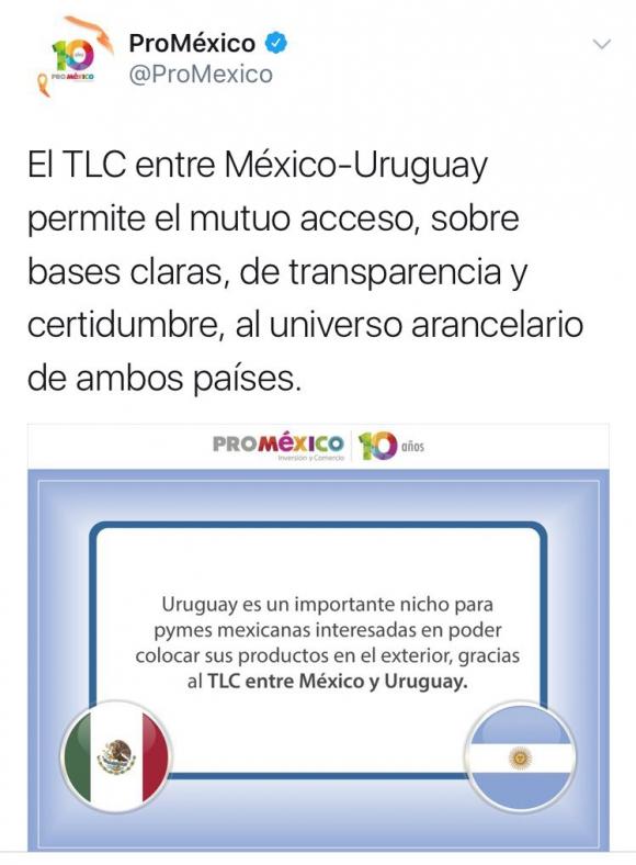 La confusión de banderas en la cuenta de Twitter de Pro México.