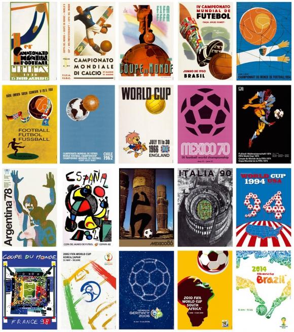 Los otros afiches: desde Uruguay 1930 a Brasil 2014.