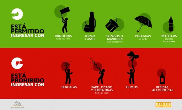 Los elementos que se pueden llevar y no se pueden al partido. Foto: Ministerio del Interior