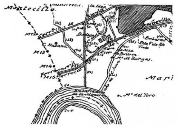 Detalle del plano correspondiente al término municipal de San Juan del Puerto. Foto: Instituto Geográfico y Estadístico