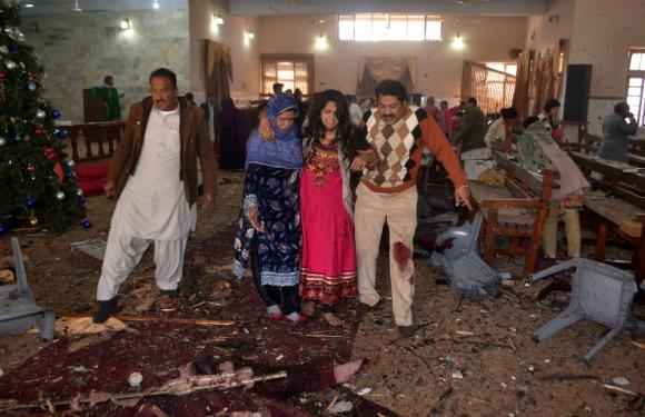 La iglesia metodista luego del ataque en la ciudad de Quetta. Foto: AFP