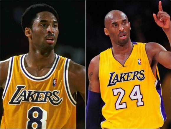 Kobe Bryant con el 8 de los inicios y el 24 del final.
