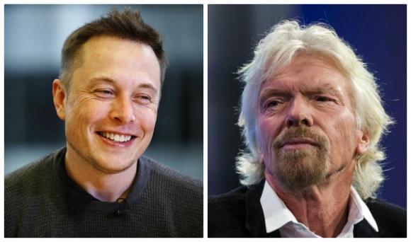 Mano a mano. Musk y Branson también compiten en el turismo espacial.