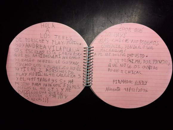 Carta de una niña que pide inclusión en juguetes. Foto: Twitter @ivanvilaplanam