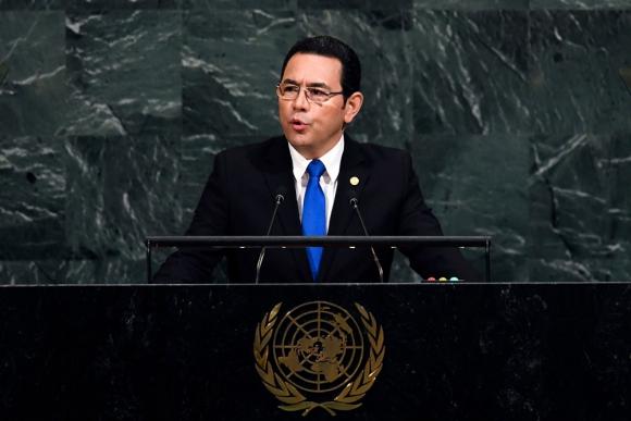 El presidente de Guatemala, Jimmy Morales, en las Naciones Unidas. Foto: AFP