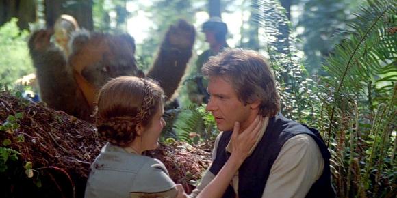 "Carrie Fisher y Harrison Ford en ""El retorno del Jedi"""