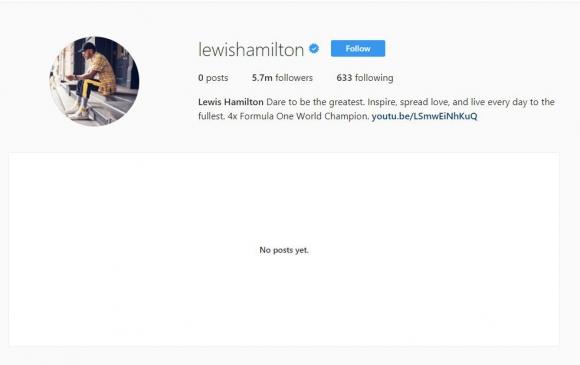 El Instagram de Lewis Hamilton tras la polémica. Foto: Captura