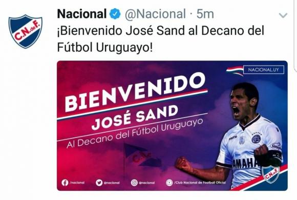 La publicación de Nacional en Twitter con la llegada de José Sand.