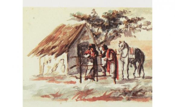 """Detalle de """"(Escena de campo)"""", de Juan Manuel Besnes e Irigoyen, 1830-1859, acuarela"""