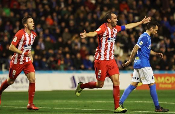 Diego Godín festejando el gol del Atlético de Madrid. Foto: EFE
