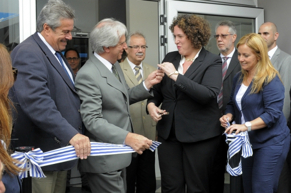 Antía, Vázquez y la embajadora de Israel Nina Ben-Ami en la inauguración del Centro de Monitoreo. Foto: Ricrado FIgueredo.