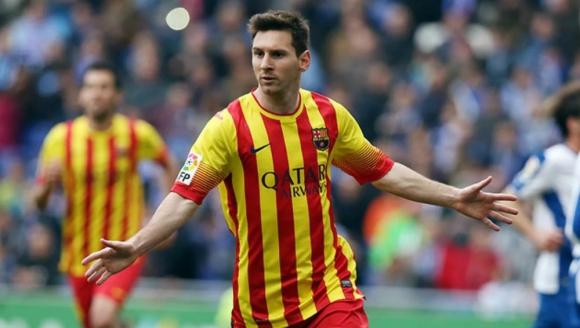 Lionel Messi con los colores de Cataluña