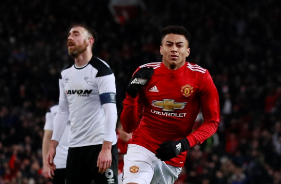 Jesse Lingard festejando el gol del Manchester United. Foto: Reuters