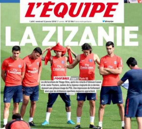 Portada de L'Equipe sobre el caso Cavani-Pastore-PSG