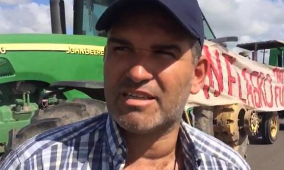 Andrés Caballero, productor rural que protesta en Treinta y Tres. Foto: Captura de video