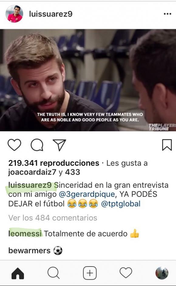 Instagram de Luis Suárez. Foto: Captura @luissuarez9