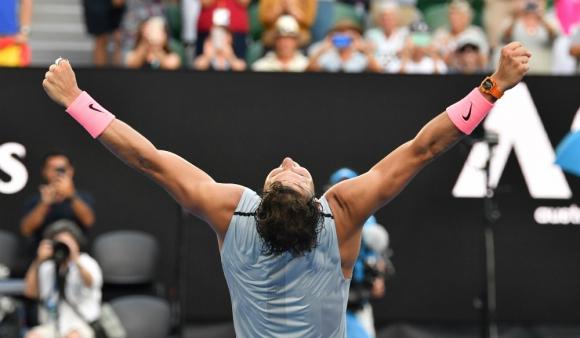 Rafael Nadal festejó el sufrido triunfo ante el argentino Schwartzman