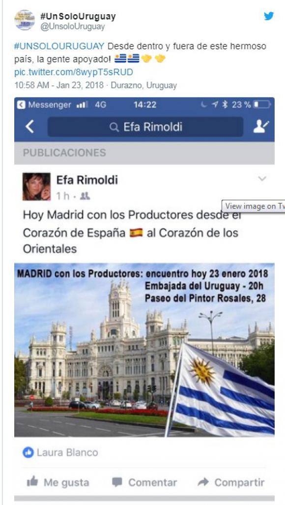 Convocatoria por el agro en Madrid. Foto: Facebook