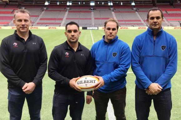 Los head coach y capitanes de Canadá y Uruguay. Foto: Rugby Uruguay