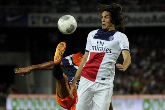 El debut de Cavani en PSG contra Montpellier. Foto: AFP