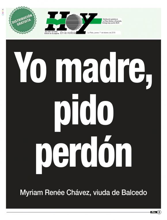 La tapa del diario Hoy de La Plata.