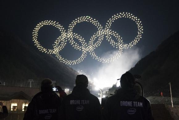 Drones de Intel en los Juegos Olimpicos de Invierno. Foto: Prensa Intel