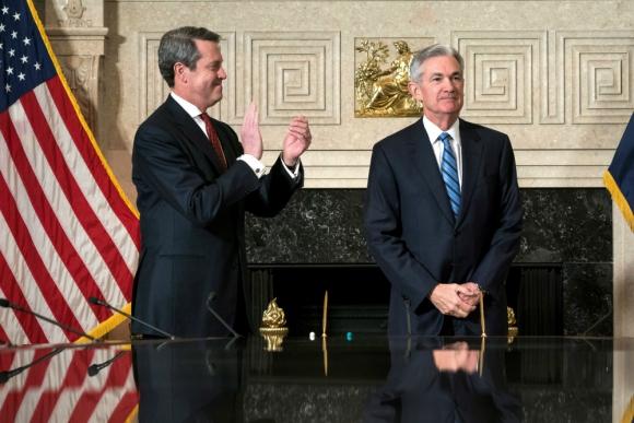 Jerome Powell: ayer juró el nuevo presidente de la Reserva Federal de EEUU. Foto: EFE