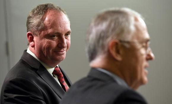 Barnaby Joyce y Malcolm Turnbull durante una conferencia de prensa. Foto: AFP