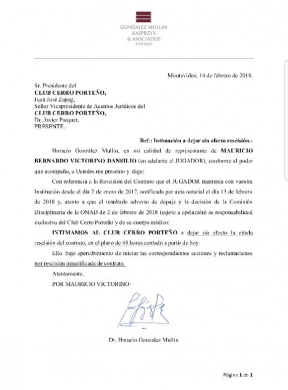 Intimacion de Mauricio Victorino contra Cerro Porteño.