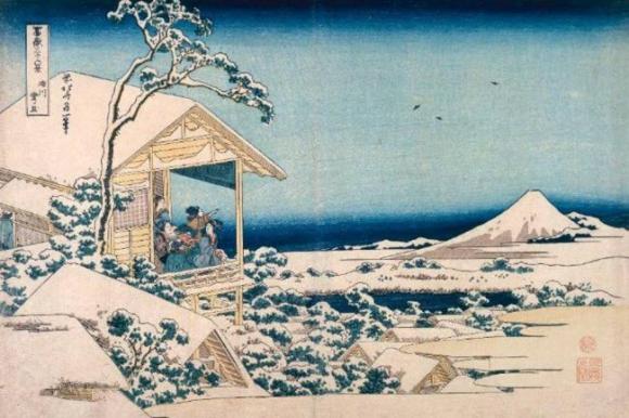 """""""Mañana nevada"""" una de las grandes obras de Hokusai"""