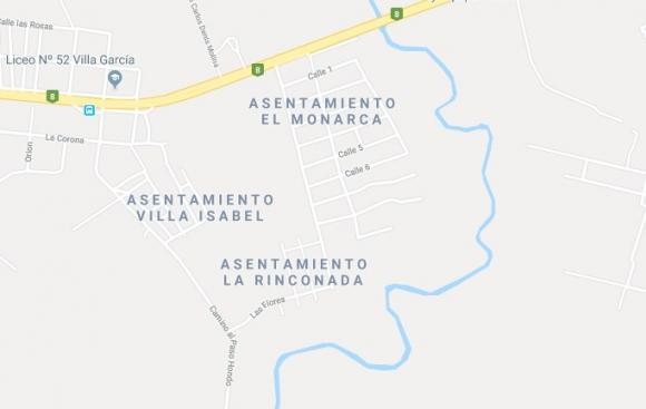 Mapa asentamiento El Monarca. Foto: GoogleMaps