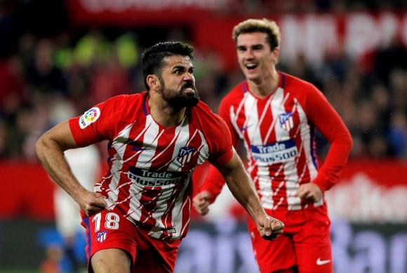 Diego Costa festejando el gol del Atlético de Madrid. Foto: Reuters
