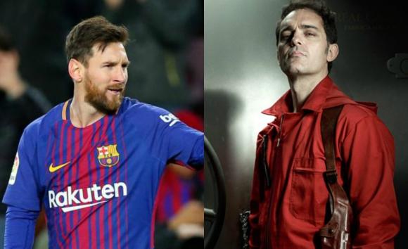 Lionel Messi y Pedro Alonso, interpretando a Berlín.